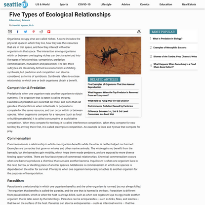 Five Types of Ecological Relationships