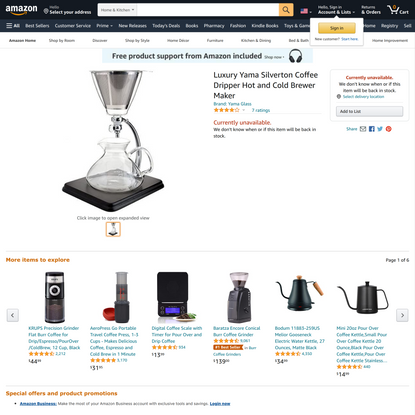 Luxury Yama Silverton Coffee Dripper Hot and Cold Brewer Maker