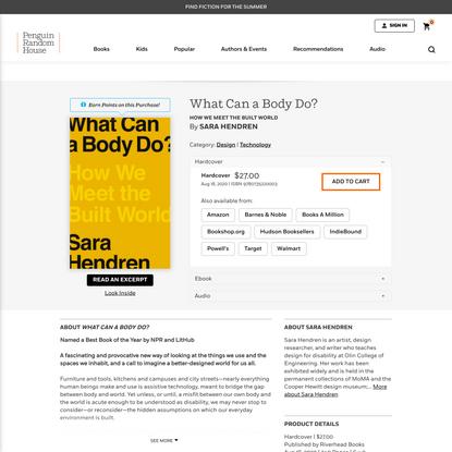 What Can a Body Do? by Sara Hendren: 9780735220003 | PenguinRandomHouse.com: Books