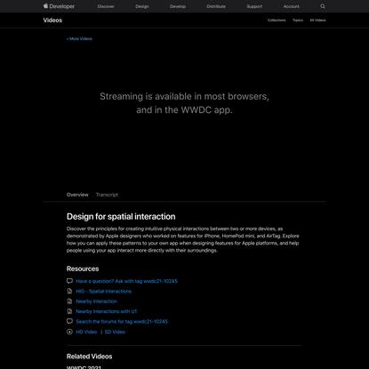 Design for spatial interaction - WWDC 2021 - Videos - Apple Developer