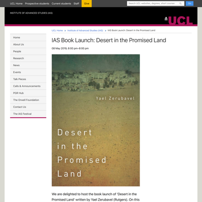 IAS Book Launch: Desert in the Promised Land