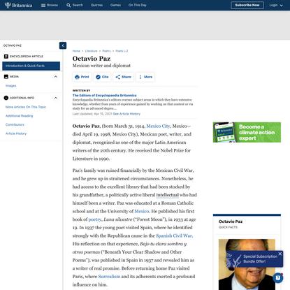 Octavio Paz | Mexican writer and diplomat