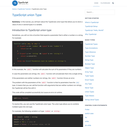 TypeScript union Type