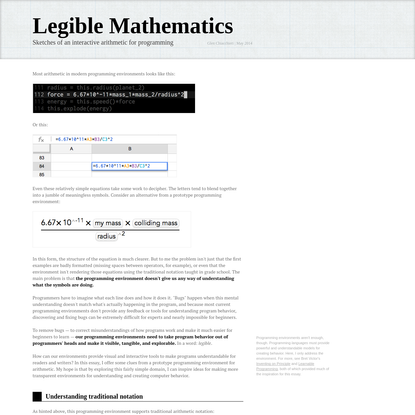 Legible Mathematics - Sketches of an interactive arithmetic for programming by Glen Chiacchieri