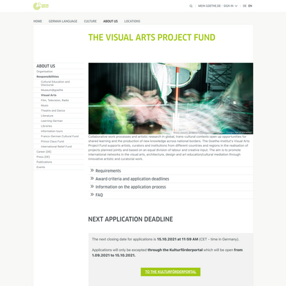 The Visual Arts Project Fund - Goethe-Institut