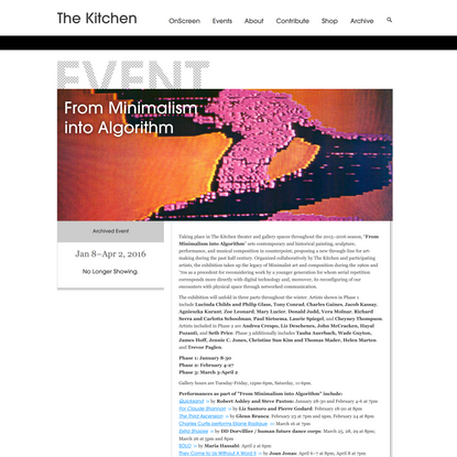 The Kitchen: From Minimalism into Algorithm
