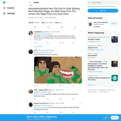 "Tyler, The Creator on Twitter: ""Hahahahahahahaha How The Fuck Is Cyber Bullying Real Hahahaha Nigga Just Walk Away From The ..."
