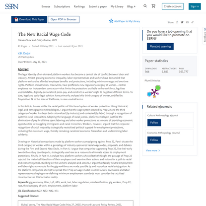 The New Racial Wage Code by V.B. Dubal :: SSRN