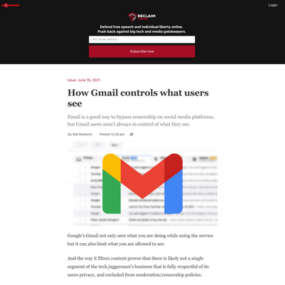 How Gmail controls what users see
