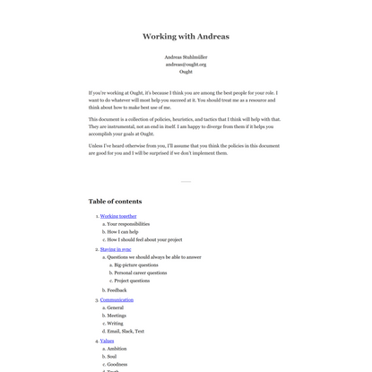 Working with Andreas - a user guide