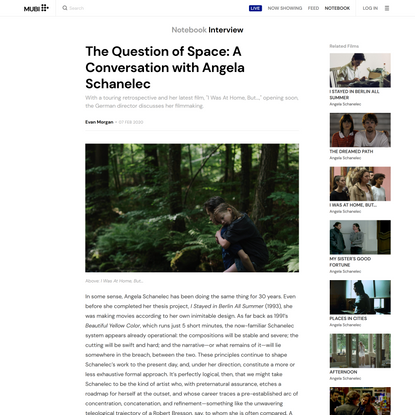 The Question of Space: A Conversation with Angela Schanelec