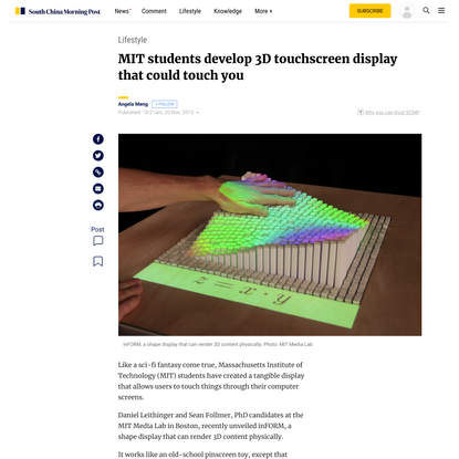 MIT students develop 3D touchscreen display that could touch you
