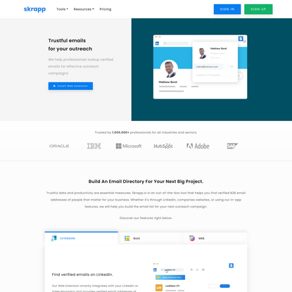 Email lookup for smart businesses   Skrapp.io