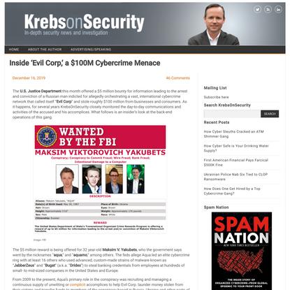 Inside 'Evil Corp,' a $100M Cybercrime Menace – Krebs on Security