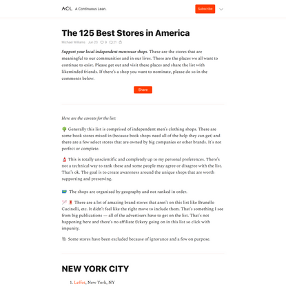 The 125 Best Stores in America