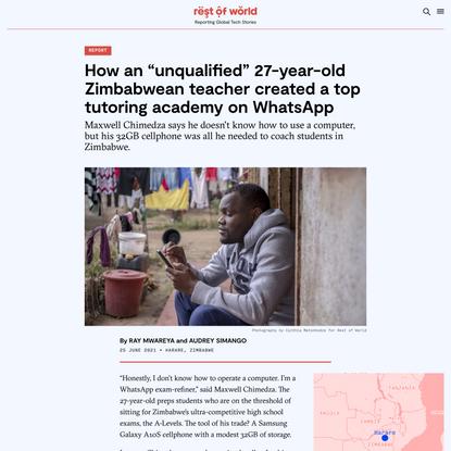 A Zimbabwean tutor used WhatsApp to create a prep school