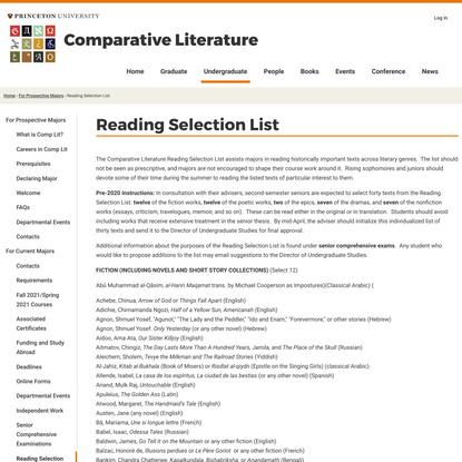 Reading Selection List | Comparative Literature