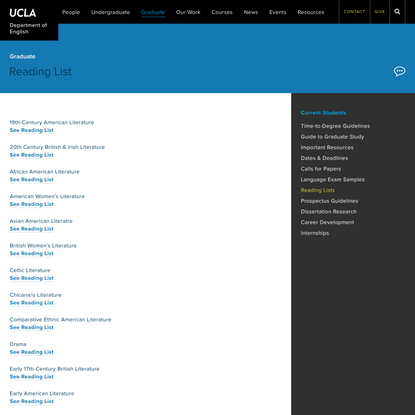 Graduate – Current – Reading Lists – Department of English UCLA