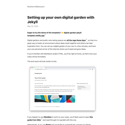 Setting up your own digital garden with Jekyll