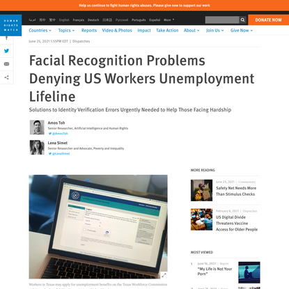 Facial Recognition Problems Denying US Workers Unemployment Lifeline