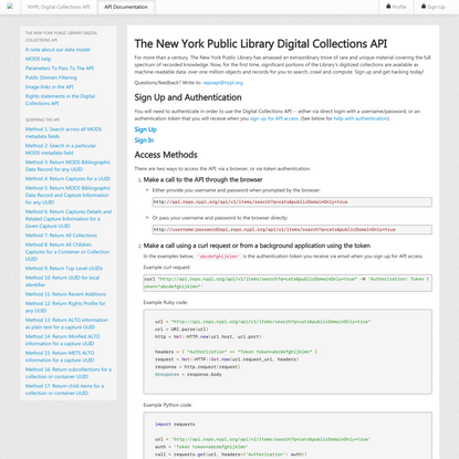 NYPL Digital Collections API