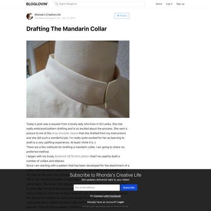 Drafting The Mandarin Collar (Rhonda's Creative Life)