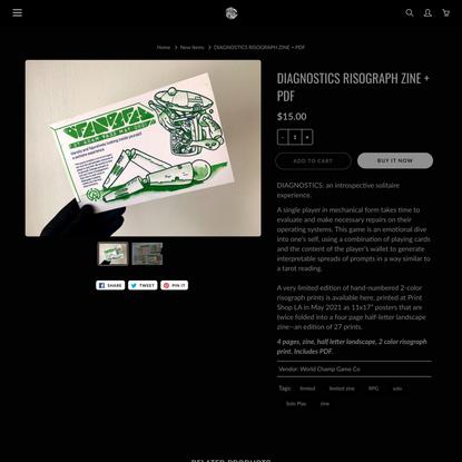 DIAGNOSTICS RISOGRAPH ZINE + PDF