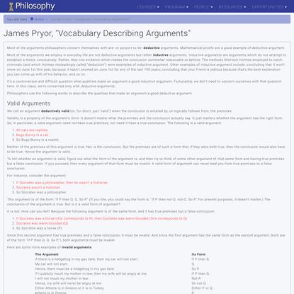 "James Pryor, ""Vocabulary Describing Arguments"" | Philosophy"