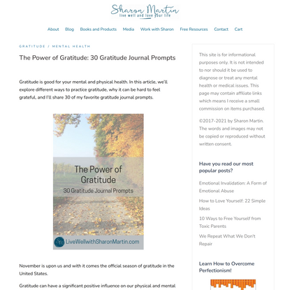 The Power of Gratitude: 30 Gratitude Journal Prompts - Live Well with Sharon Martin