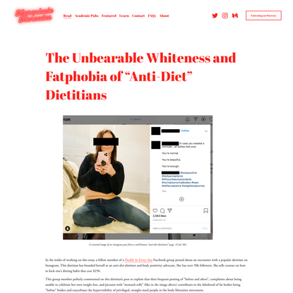 """The Unbearable Whiteness and Fatphobia of """"Anti-Diet"""" Dietitians — Marquisele Mercedes"""