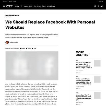 We Should Replace Facebook With Personal Websites