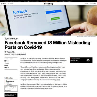 Bloomberg - Facebook removed 18 million misleading posts on Covid