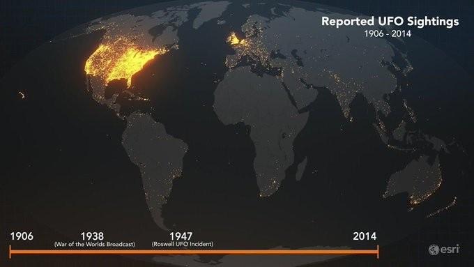 Reported UFO sightings 1906-2014
