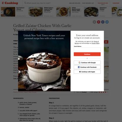 Grilled Za'atar Chicken With Garlic Yogurt and Cilantro Recipe