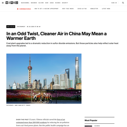 In an Odd Twist, Cleaner Air in China May Mean a Warmer Earth