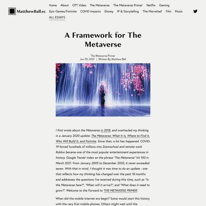 A Framework for The Metaverse — MatthewBall.vc