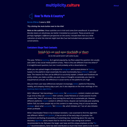 How To Mute A Country - Multiplicity
