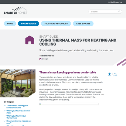 Using thermal mass for heating and cooling - Smarter Homes Practical advice on smarter home essentials