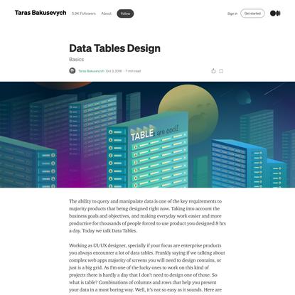 Data Tables Design