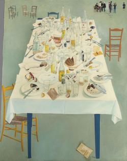 Spyros Vassiliou (Greek, 1902-1984),After dinner at Kostis ,1972. Oil and collage on canvas,146 x 114.5 cm