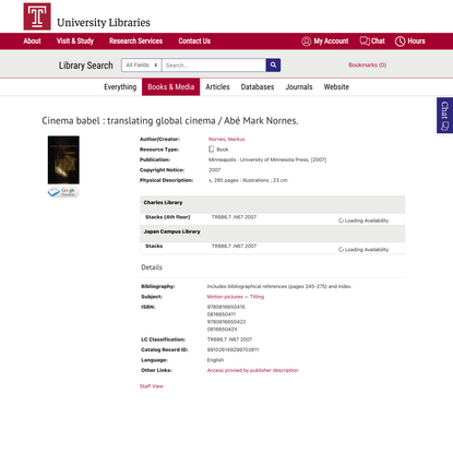 Cinema babel : translating global cinema / Abé Mark Nornes. - Library Search