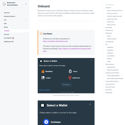 Onboard - Blocknative Documentation