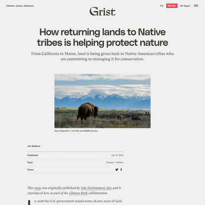 How returning lands to Native tribes is helping protect nature