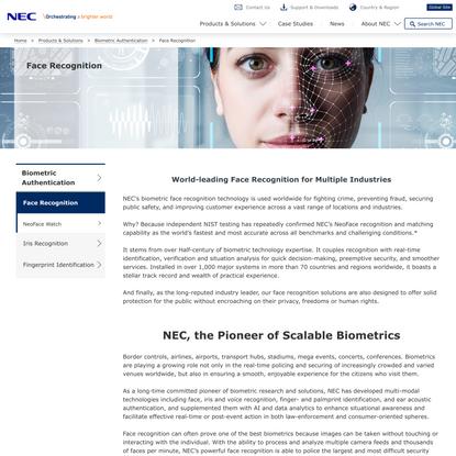 Face Recognition: Biometric Authentication | NEC