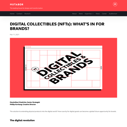 MUTABOR - DIGITAL COLLECTIBLES (NFTs): WHAT'SINFOR BRANDS?