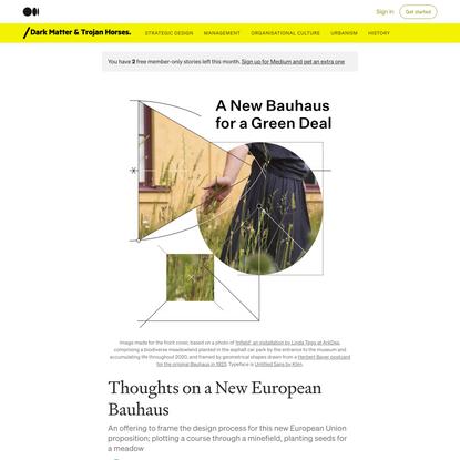 Thoughts on a New European Bauhaus