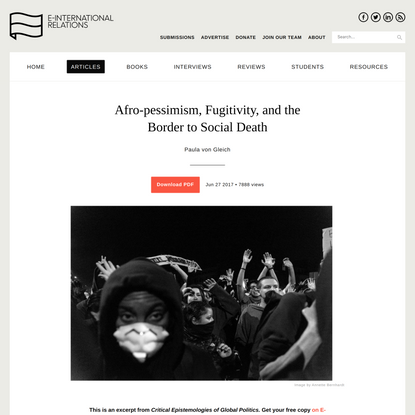 Afro-pessimism, Fugitivity, and the Border to Social Death