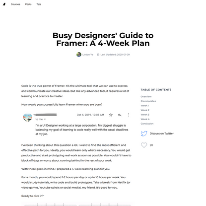 Busy Designers' Guide to Framer: A 4-Week Plan