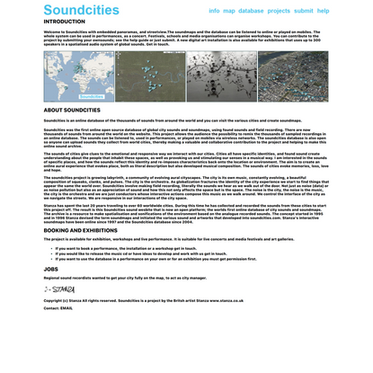 Soundcities by Stanza. The Global soundmaps project. An online open source database of city sounds field recording and sound...