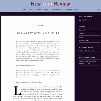 """T. J. Clark, """"For a Left With No Future"""""""